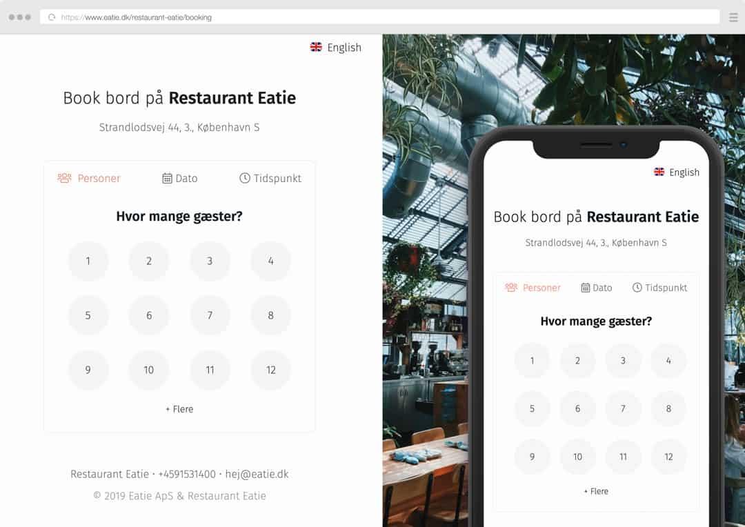 Restaurant booking form