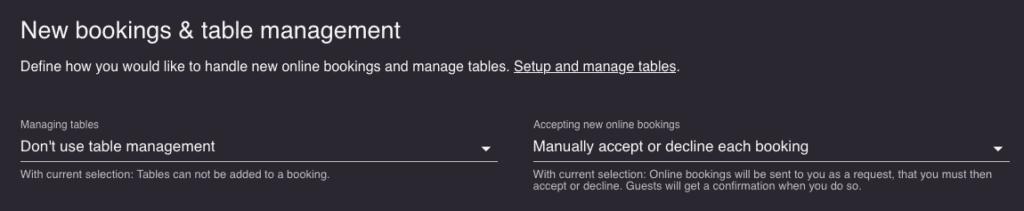 Choose booking settings