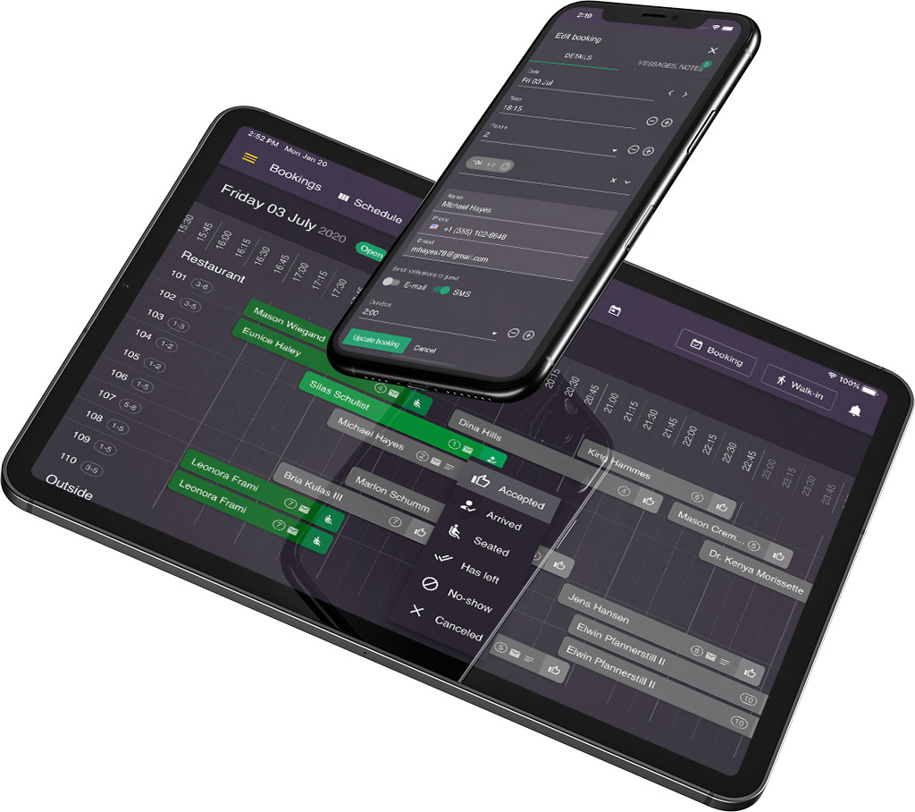 Telefon og tablet der viser resOS' reservationssystem