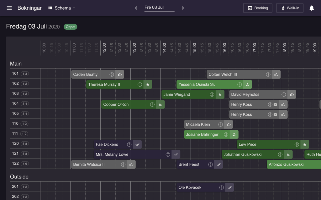 resOS' restaurangsystem kalendar