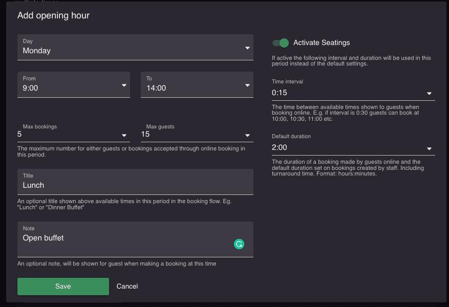 edit opening hours on resOS.com