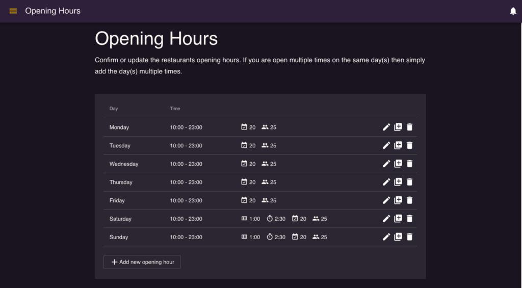 Activate seatings- default and special opening hours