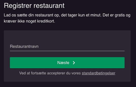 En boks hvor du skal indtaste restaurantens navn for at komme i gang med at opsætte din restaurant på resOS