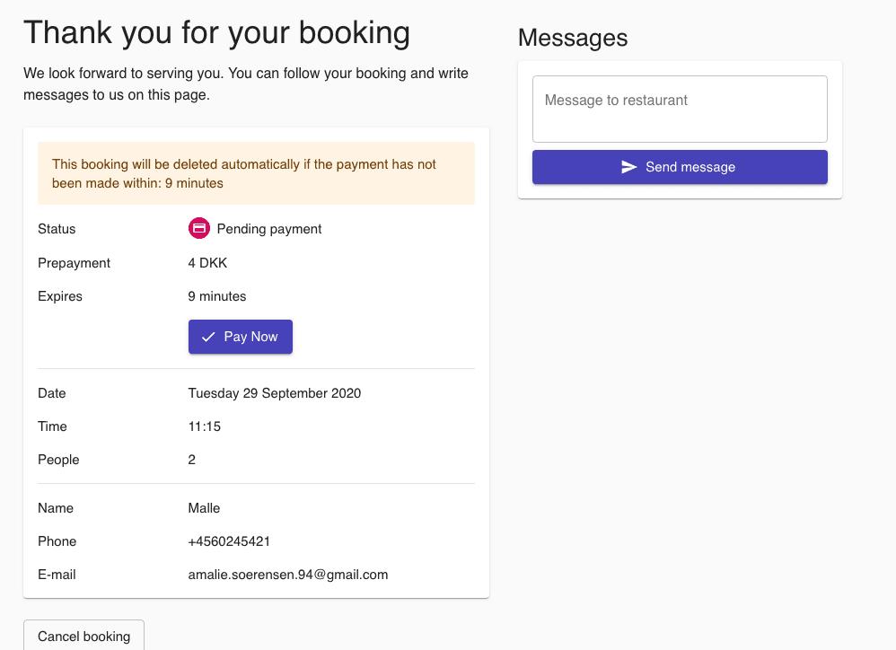 forudbetaling i bookingflowet