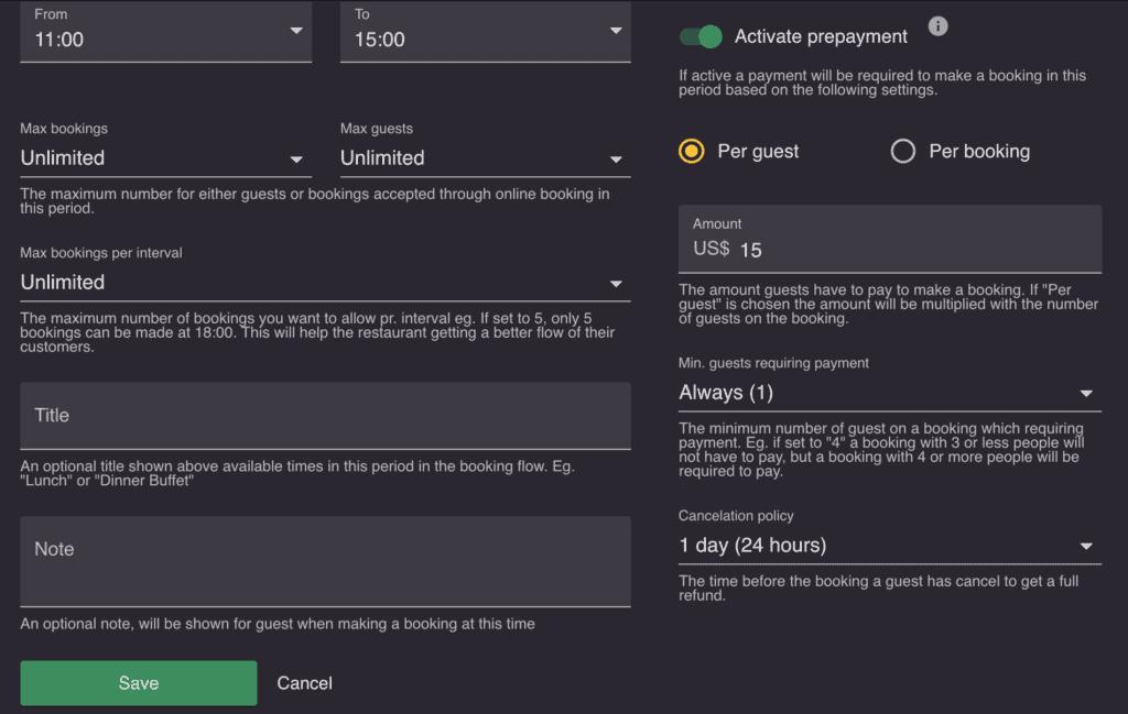 Prepayment settings on resOS.com