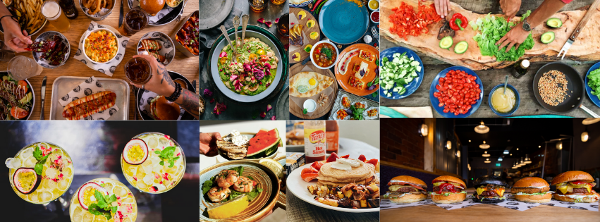Picture of food served at different restaurant booking systems