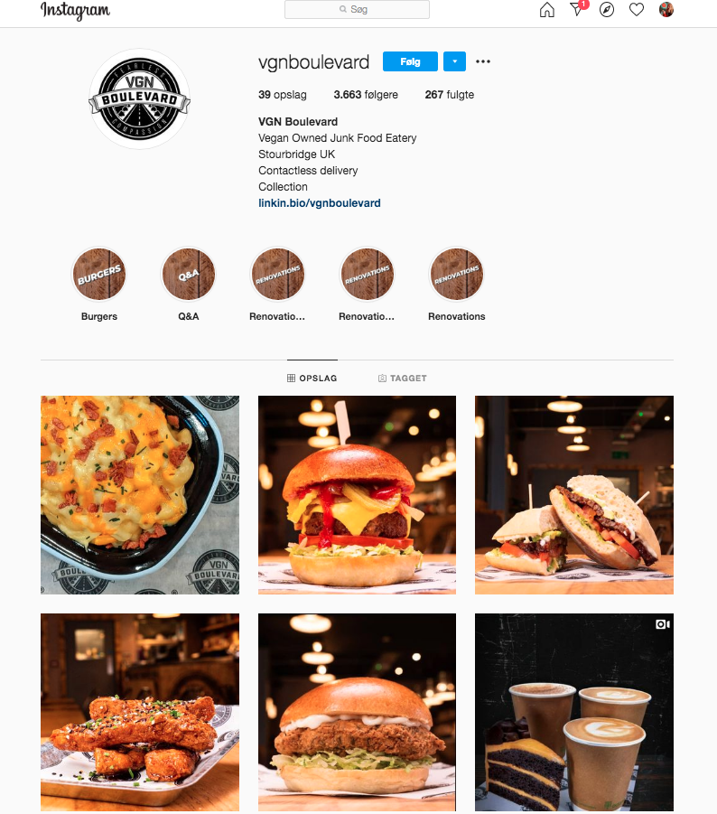 Example of an Instagram account