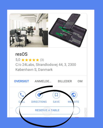 resOS' example of a Reserve with Google option