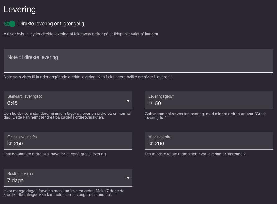 resOS leverings menu