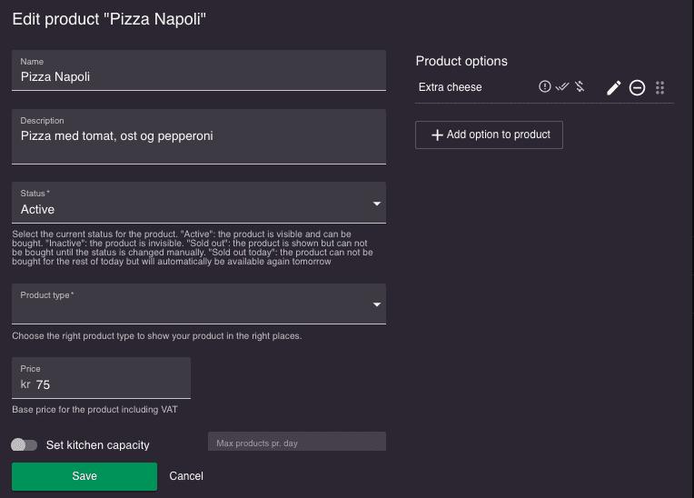 resOS unlimited product menu